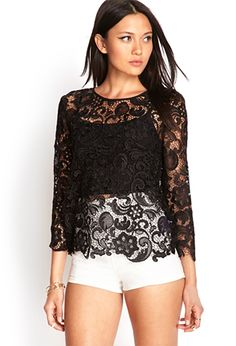 Crochet Lace Blouse | FOREVER21 - 2000105205