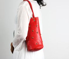 Small Red Leather Shoulder Bag/ Riveted Red by NeroliHandbags
