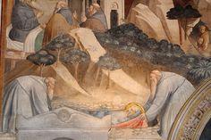 Agnolo Gaddi - Storie di Sant'Antonio abate, morte e seppellimento  - affresco - 1385 - Cappella Castellani - Basilica di Santa Croce a Firenze.