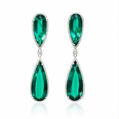 NEW: Teardrop earrings featuring four chatham emeralds 31.64ctw of exquisite color surrounded by round brilliant white diamonds .93ctw in 18k white gold.  #jewelry #newyork #love #beautiful #picoftheday #wow