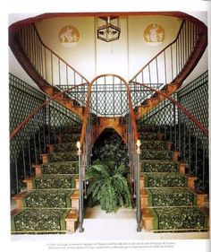 Not just a Double staircase. Notice the camouflage fern whose drooping fronds give the game away. Double Staircase, Grand Staircase, Antique Interior, French Interior, House Stairs, Carpet Stairs, Hallway Inspiration, Interior Inspiration, Stair Elevator