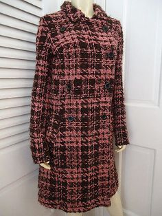 LUX Coat Sz M Long Retro Mod Wool Blend Brown Pink Tweed Double Breasted CHIC