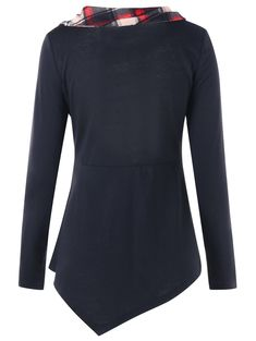 Long Sleeve Plaid Panel Irregular T-shirt - BLACK M