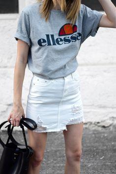 white denim skirt and ellesse t shirt