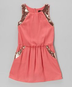 Take a look at this Coral Bella Sequin Dress - Girls by Laundry by Shelli Segal on #zulily today!