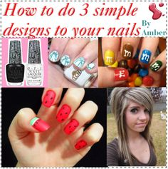 """3 simple nail designs"" by the-amazing-tip-chickas on Polyvore"