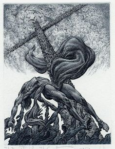 "uromancy: ""Ex Libris by Julian Jordanov. The Deposition from the Cross. 1999. """