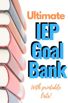 The Ultimate IEP Goal Bank! A list of IEP Goals and IEP Objectives separated by category or area of need; incl PDFs of IEP goals and how to write IEP goals. Speech Language Therapy, Speech And Language, Speech Therapy, Language Arts, Life Savers, Teaching Special Education, Art Education, Special Education Organization, French Education