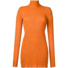 Kitx roll neck blouse ($400) ❤ liked on Polyvore featuring tops, blouses, yellow, roll neck top, orange blouse and orange top