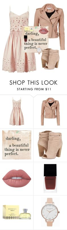 """Ivory to Beige"" by salypimienta on Polyvore featuring Miss Selfridge, IRO, Sugarboo Designs, Chinese Laundry, Lime Crime, Witchery, Burberry and Olivia Burton"