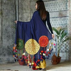 Indigo with Multi Coloured Dream Catcher Embroidered Cotton Saree with Tassels - Rustorange Kurti Designs Party Wear, Kurta Designs, Saree Blouse Designs, Garba Dress, Navratri Dress, Indian Gowns Dresses, Pakistani Dresses, Stylish Sarees, Stylish Dresses