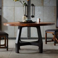 Give your kitchen an industrial look with this INK+IVY Lancaster round dining table. Solid Wood Dining Table, Extendable Dining Table, Dining Table In Kitchen, Dining Table Chairs, Round Dining Table, Wood Table, Table Legs, Metal Tables, Mesa Metal