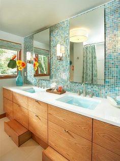 Blue and Green Tiled Wall with Oak Vanity Aqua Bathroom, Bathroom Kids, Small Bathroom, Kids Bath, Master Bathroom, Honey Oak Trim, Cambria Countertops, Cambria Quartz, Guest Bathrooms