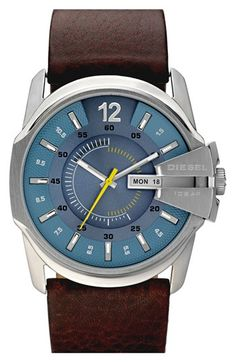 DIESEL® 'Master Chief' Leather Strap Watch, 45mm available at #Nordstrom