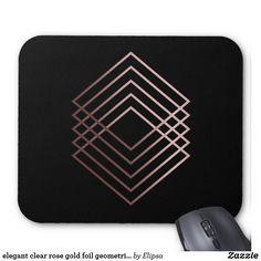 elegant clear rose gold foil geometric squares mouse pad