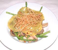 Haggis Ravioli with Asparagus and Chestnut Mushrooms