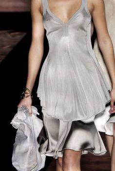 Armani - grey / silver silk dress