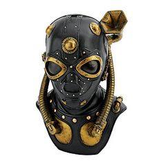 Steampunk Gas Mask Statue Industrial Mechanically Techno Victorian Sculpture