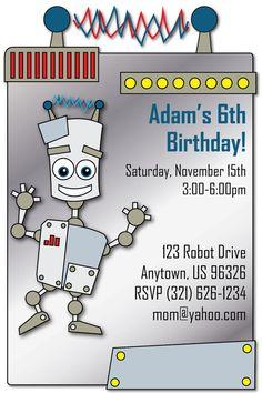 Robot Birthday Party Invitation   Super cute and fun invite! Printable!