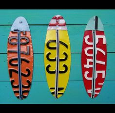 Funky Five Surf - Recycled Vintage Surfboard License Plate Art - Salvaged Wood - Upcycled Artwork