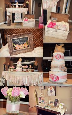 Shabby chic baby shower. ( Trunk for gifts so she can re-use in the nursery)