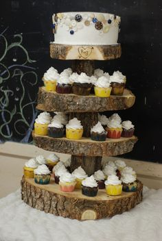 Rustic Wood Tree Slice 4-tier Cupcake Stand for your Wedding, Event, or Party (As seen on HGTV.com) Vintage, Shabby Chic, Heart and Arrow on Etsy, $85.00