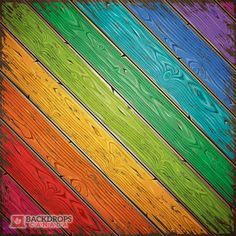 Bright Rainbow Wood photography backdrop or loordrop. This image can be rotated to be vertical, horizontal or diagonal as required. Order online at www.backdropscanada.ca