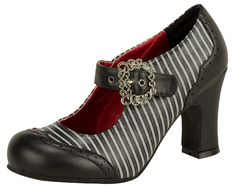 Gray and Black stripe baby-doll heel by T.U.K Shoes