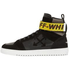 Off White Men Towing Strap Leather High Top Sneakers ($620) ❤ liked on Polyvore featuring men's fashion, men's shoes, men's sneakers, black, mens high top shoes, mens leather high top sneakers, mens black shoes, mens black sneakers and mens monk strap shoes