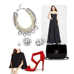 Some glamour with the Stella and Dot Starlet necklace.  A beautiful cape that when removed reveals the lovely neckline. by erikatorres111 on Polyvore featuring polyvore, fashion, style, Adrianna Papell, BCBGeneration, Liliana, Chanel and Stella & Dot