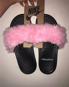 "Nike Faux Fur ""Princess"" Baby Pink Slides by ShopIcxy on Etsy https://www.etsy.com/listing/264021976/nike-faux-fur-princess-baby-pink-slides"
