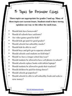 good ideas for persuasive essays