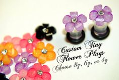 Custom Tiny Flower Acrylic Plugs, Ear Gauges, Stretched Ears, 3mm 8g 4mm 6g 5mm 4g, Rhinestones, Plugs for Girls, CHOOSE SIZE and COLOR