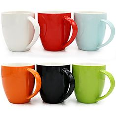 Best Kitchen Cart | Asmwo Set of 6 Colorful Cute Ceramic Tea Coffee Mugs for Coffee Maker 14OZ -- Click image to review more details. Note:It is Affiliate Link to Amazon.