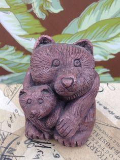 Vintage-Earthquake Clay Mama Bear and Cub by CoffeeCreekVintage