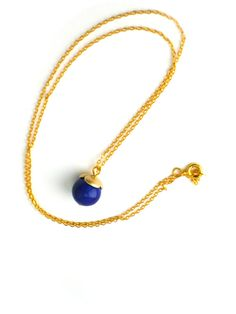 Blue bead necklace Thin gold chain necklace by BloomingbirdFactory, €30.00