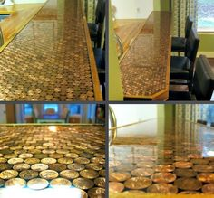pennys on concrete floor | DIY Penny Countertop- Laundry room would be fun...throw in the occasion siver coin