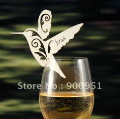 Love Birds place cards for wine glass,8*8cm,customized design&package,20color,100%Product Credibility Assurance $36.00