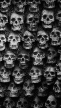 Wall of skulls Skull Wallpaper, Wallpaper Backgrounds, Wallpapers, Apple Wallpaper, Dark Wallpaper, Screen Wallpaper, Dark Gothic, Gothic Art, Crane