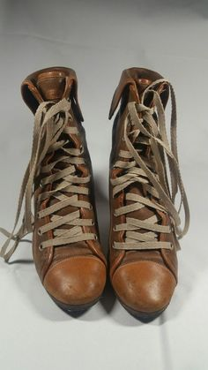 5655e899723 Zara Basics Leather Wedge Lace Up Ankle Boots Size 38 EU US Tan and Brown.