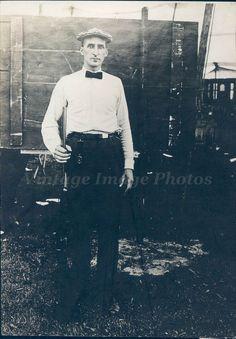 1924 Photo AR Chizik Portal ND Singles Playing Gun Young Man Portrait Original