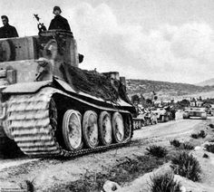 A column of the Africa Korps Tiger I tanks in the desert. The unit was recognised as a sup.