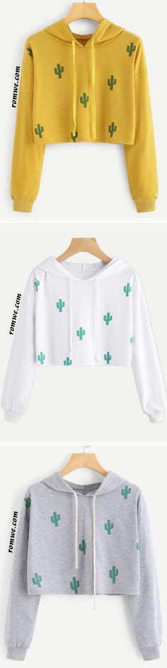Cactus Print Hooded Crop Sweatshirt