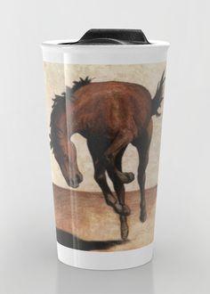 """Wild horse"" Travel Mug by Savousepate on Society6 #travelmug #mug #mustang #rodeo #drawing #brown"