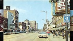 Downtown Gary, Indiana in the 1960s, taken in front of the Palace Theater