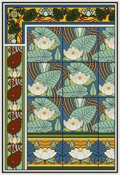Eine Anpassung der eine Dekorplatte floral ca. 1890er Jahren - mit Seerosen. Das Muster hat vier wiederholte Abschnitten. Das Hauptzentrum-Panel sind