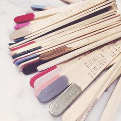 polished popsicle sticks to keep track of your colors