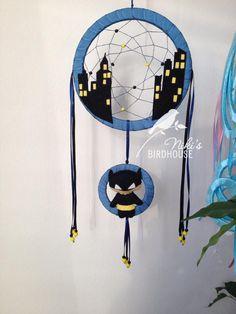 Superhero dreamcatcher batman inspired dreamcatcher for kids - room decor - nursery mobile by NikisBirdhouse on Etsy https://www.etsy.com/listing/224848065/superhero-dreamcatcher-batman-inspired