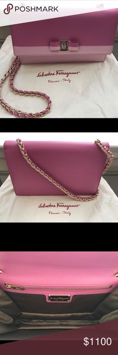 Ferragamo 'Medium Ginny' Shoulder Bag NEW. AUTHENTIC. NO ODORS. NO SCRATCHES. $1,000 🅿️🅿️ Gancio-lock hardware and a signature grosgrain bow effortlessly polish a modern flap bag crafted in Italy from scratch-resistant Saffiano leather and suspended from a woven chain-and-leather strap. Push-lock flap closure. Interior zip pocket. Saffiano leather. Made in Italy. Ferragamo Bags Shoulder Bags