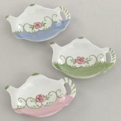 Eloise Pink Rose Teapot Shaped Tea Bag Holder Set (6) | Shop home| Kaboodle